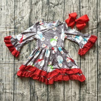baby girls Christmas dress girls Christmas red lace ruffle boutique dress Christmas party snowman long sleeve dress with bows