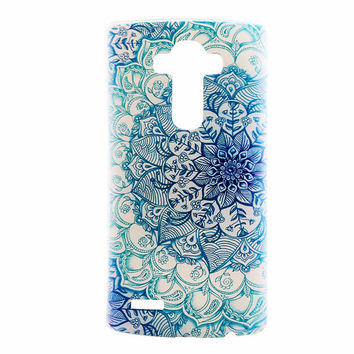 LG G4 Case Cover Mandala Soft Clear Plastic LG Back Cover Teal Henna Geometric Tribal Case G4 Black Snap On Case Slim Mandala 139