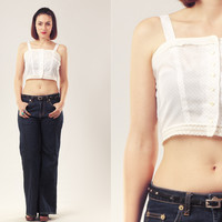70s White Crop Top / Polka Dot Cropped Top / Button Up Cotton Top