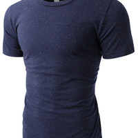 LE3NO PREMIUM Mens Soft Trim Fit Short Sleeve Crewneck T Shirt