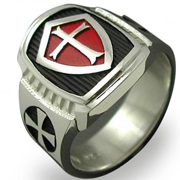 Size 7-15 Stainless Steel Titanium Red Armor Shield Knight Templar Crusader Cross Ring Medieval Signet Retro Vintage