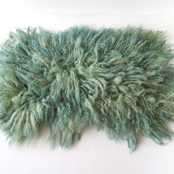 Flokati Medium Fluffy Fur Rug Curly Fleece Real Wool Hand Felted Mint Teal  by Feltfur RTS