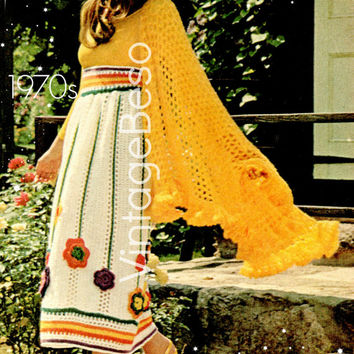 Floral-Appliquéd Skirt and Lacy Crocheted Shawl Crochet Pattern 70s Skirt Crochet Pattern Shawl Crochet Pattern Flower Crochet Pattern