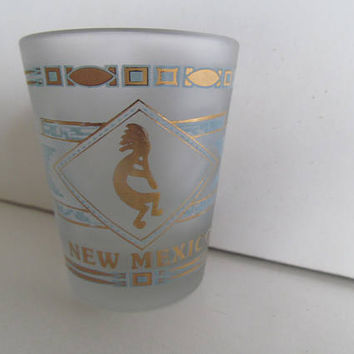 Kokopelli Flute Player New Mexico Shot Glass vintage Teal shot glasses Atomic Glassware Shot Glass Souvenier Atomic Barware Southwestern
