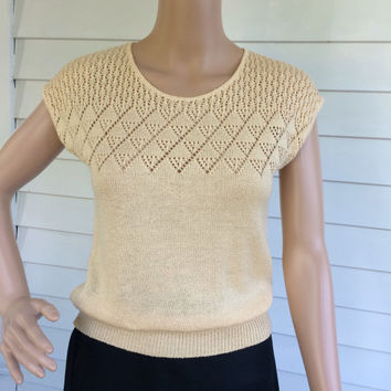 Summer Knit Ivory Sleeveless Sweater Top Sheer Casual 70s Vintage Neutral S XS