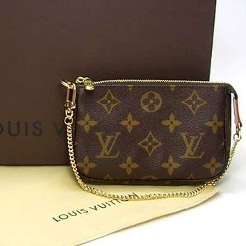 LV 2019 new women's chain zipper wallet key case