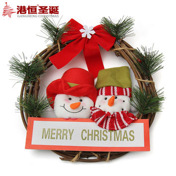 "2016 Christmas Wreath Pendant 11.81cm"" (30cm) Cloth Xmas Decoration For Home Handmade Craft Party Wedding Supplies CW003"