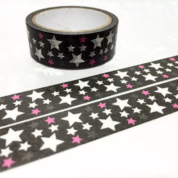 Stars tape 5M Fat Black White Lucky stars washi tape night sky deco sticker outer space planner tape card decor scrapbook gift