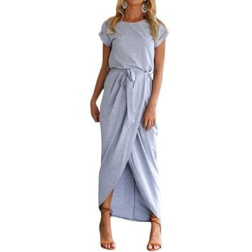 2018 Sexy Summer Dress Lady Outfit High Split Casual Long Maxi Dress Solid Women's Retro Dresses With Belt Vestidos