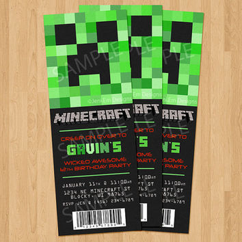 Creeper Minecraft Birthday Invitation, Printable
