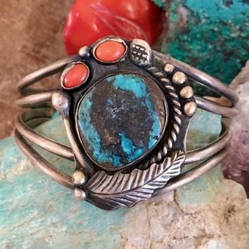 Carlin Mine Turquoise Bracelet with Coral By Navajo Tully Linkin Sterl