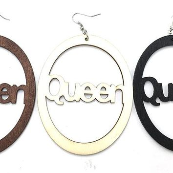 Queen Wood Earrings with Natural/black and brown color available