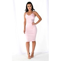 Time To Dip Light Pink Satin Sleeveless Spaghetti Strap V Neck Open Back Bodycon Midi Dress