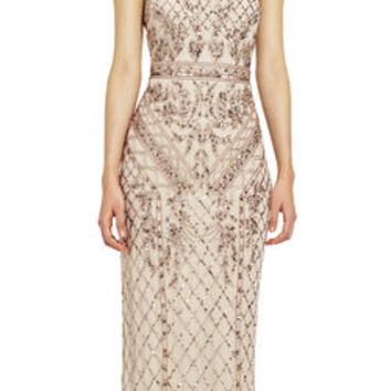 Mock Neck Beaded Column Dress with T-Back