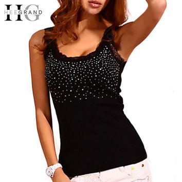 Summer Hot Selling Women Casual Tank Top Korean Style Sexy Bling Rhinestone Lace Solid Slim Soft Tops Colete WBJ056