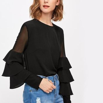 Mesh Insert Tiered Bell Sleeve Blouse Fall Black Round Neck Long Sleeve Elegant With Ruffle Button Blouse