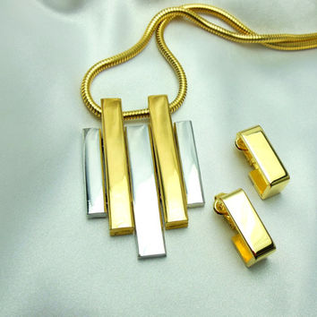 """Avon Gold Silver Necklace Earring Set """"Geometric Collection"""""""