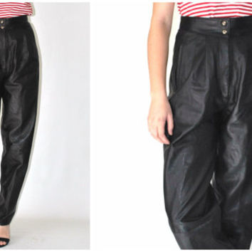 black LEATHER trousers vintage 80s high waisted PLEATED womens leather pants size 27