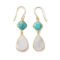 White Druzy & Turquoise Drop Earrings