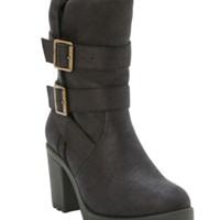 Black Strap & Buckle Boot