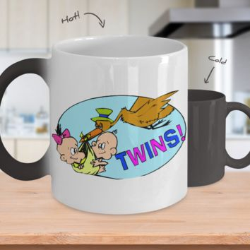 Gender Reveal Color Changing Coffee Mug-Twins Boy Girl
