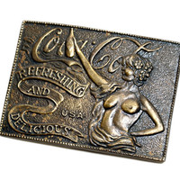 70s Coca-Cola Belt Buckle with Naked Lady