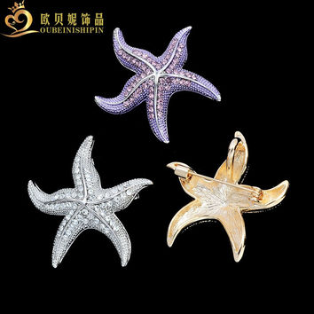 OBN Vintage Large Starfish Brooch Fashion Lapel Animal Broche