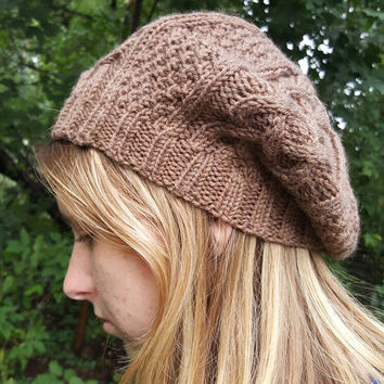 Outlander inspired slouch beret tam with cable hand knit in soft nut brown washable wool READY TO SHIP