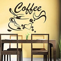 Coffee Beans Wall Decals Coffee Cup Decal Cafe Drinks Kitchen Bar Wall Decor Vinyl Sticker Home Interior Art Mural Design Cafe Decor C550