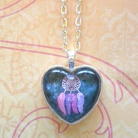 Dream catcher grey glass dome heart necklace for tween or teen girl