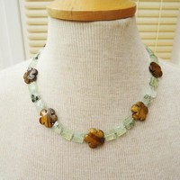Prehnite and Tigers eye Necklace, Flower Shaped Tigers Eye Necklace, Green and Brown Necklace, Gemstone Necklace