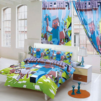 100%cotton minecraft minions bedding sets kids bed linen with duvet cover+pillow case kids cotton bedding set single twin full