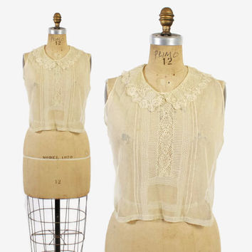 Vintage 20s Lace DICKIE / 1920s Sheer Ivory Net & Lace Collared Blouse