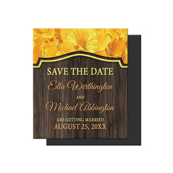 Save the Date Magnets - Rustic Yellow Daffodil and Wood