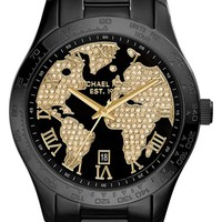 Women's Michael Kors 'Layton' Pave World Dial Bracelet Watch, 44mm - Black/ Gold