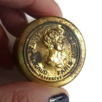 Antique Cameo Compact Vintage Vanity Powder Tin & Mirror 1910's Makeup Collectible Mary Garden Paris France Perfumer Rare Tiny Gold Compact