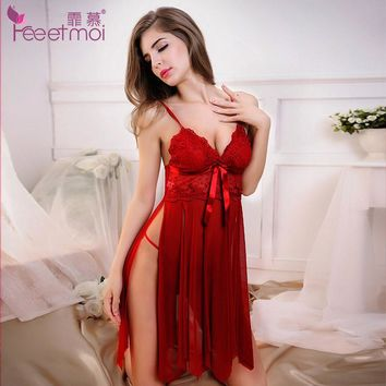 Lace Embroidery Red Baby Doll Sexy Lingerie