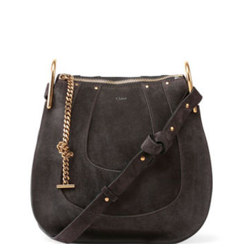 Chloe Hayley Small Suede Hobo Bag, Iron Gray