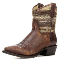 Roper Womens Vintage Brown Fabric Leather Snip Toe Cowgirl Boot