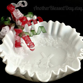 Vintage Imperial Milk Glass Windmill Bowl/ White Windmill 3 in 1 Ruffled Edge Bowl/