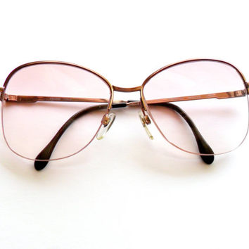 Vintage Luxottica Glasses Minerva Taupe 130 Half Frame Aviator 1980s 80s Lilac Dusty Rose Frame Italy 130mm 54mm 16mm