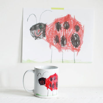 Personalised mug with your child's drawing. Kids custom mug, thoughtful gift for grandparent. Unique coffee mug custom.