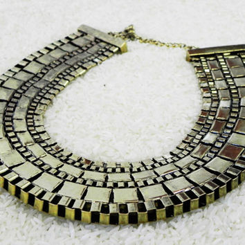 Queen of the Nile Egyptian gold statement necklace ethnic jewelry