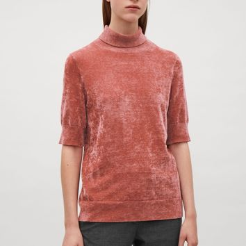 Chenille short-sleeve top - Pink - Tops - COS US