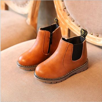 Kids autumn baby boys oxford shoes for children dress boots girls fashion martin boots toddler pu leather boots black