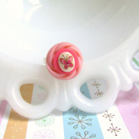 Pink Butterfly Ring - Layered Button Ring - Vintage Buttons - Vintage Cabochon - Adjustable Ring