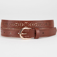 Arrow Cutout Belt Brown  In Sizes