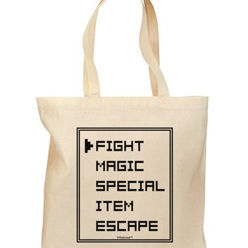 RPG Command Selection List Grocery Tote Bag by TooLoud