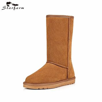 STARFART Men Boots Winter Snow Boots Slip On Shoes Man Leather Cow Suede Australian Boots Unisex Flat Fur Ug Boots Plush Solid