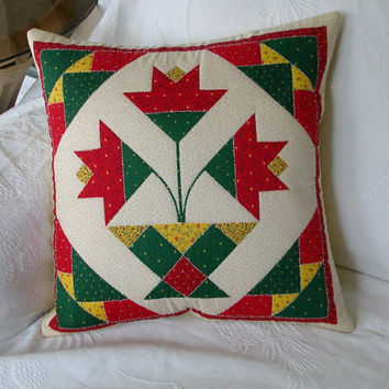 Hand Quilted Pillow Cover PENNSYLVANIA DUTCH DESIGN in Green Red and Yellow Tulips
